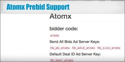 Atomx Prebid Support