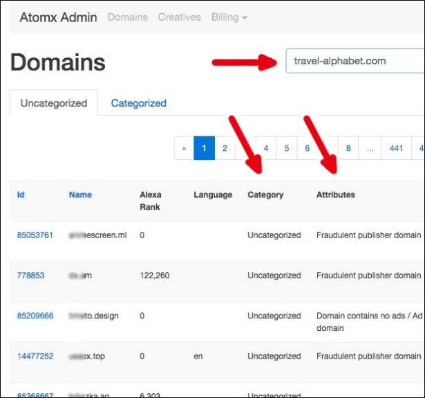 Atomx domain auditing: A mix of automated recommendations and manual classifying.