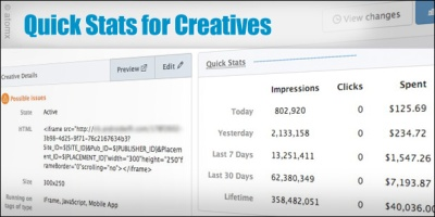 Atomx Quick Stats for Creatives