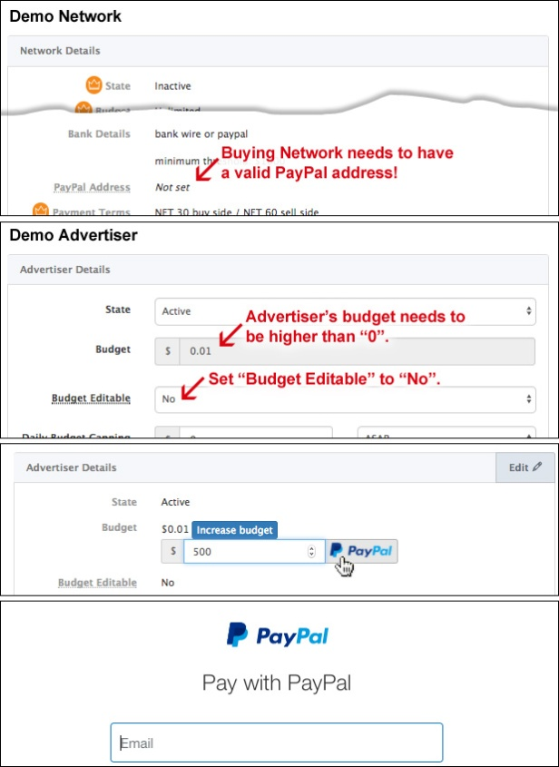 How to allow Advertisers adding funds to their budget via PayPal API.